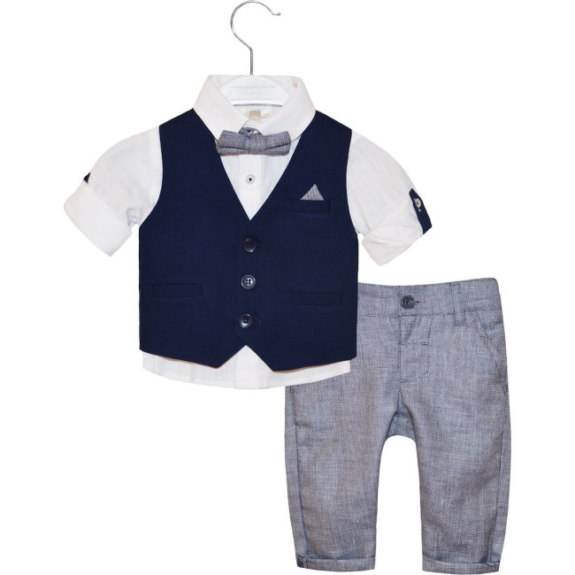 Σετ 4 τμχ, παντελόνι με ασορτί παπιγιόν, γιλέκο και πουκάμισο με μακρύ μανίκι που μαζεύει με κουμπί