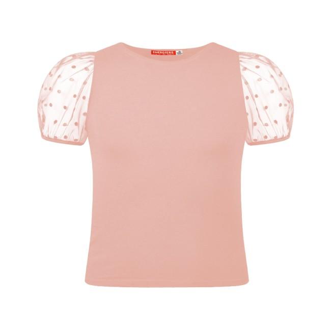 Μπλούζα με τούλι στα μανίκια και διακοσμητικές βελουτέ πουά λεπτομέρειες ροζ