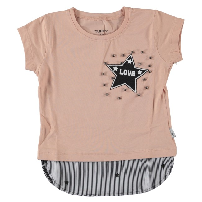 T-shirt love star ροζ